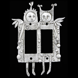"Leandra Drumm ""Fanciful Fellows"" Double Dimmer Plate"