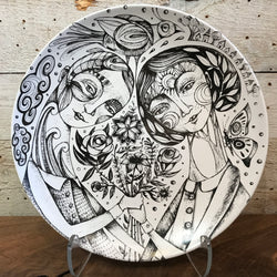 "NEW Leandra Drumm Ceramic Plate ""Our Love Grows"""