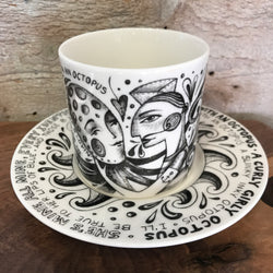 "NEW Leandra Drumm Cup & Saucer ""I'm In Love With An Octopus"""
