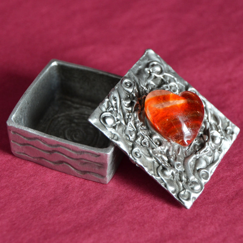 Don Drumm Pewter Glass Heart Box (Sm)