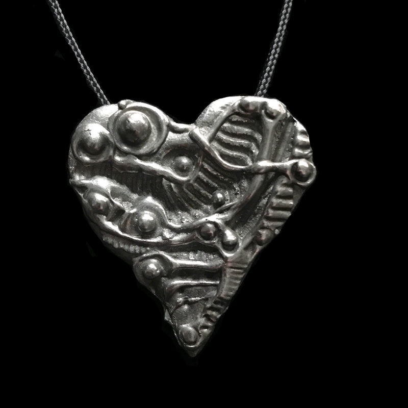 "Don Drumm Pewter Heart Pendant ""I"""