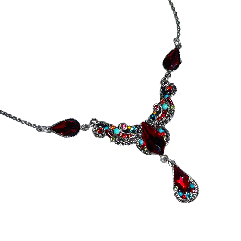 Firefly Mosaics Jewelry Lily Red Necklace