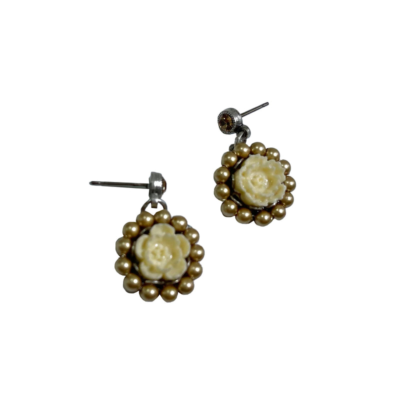 La Contessa Cream Rose Post Earrings