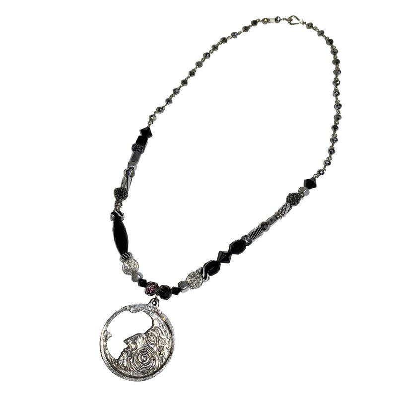 NEW! One of a Kind Cane Glass Beaded Moon Necklace