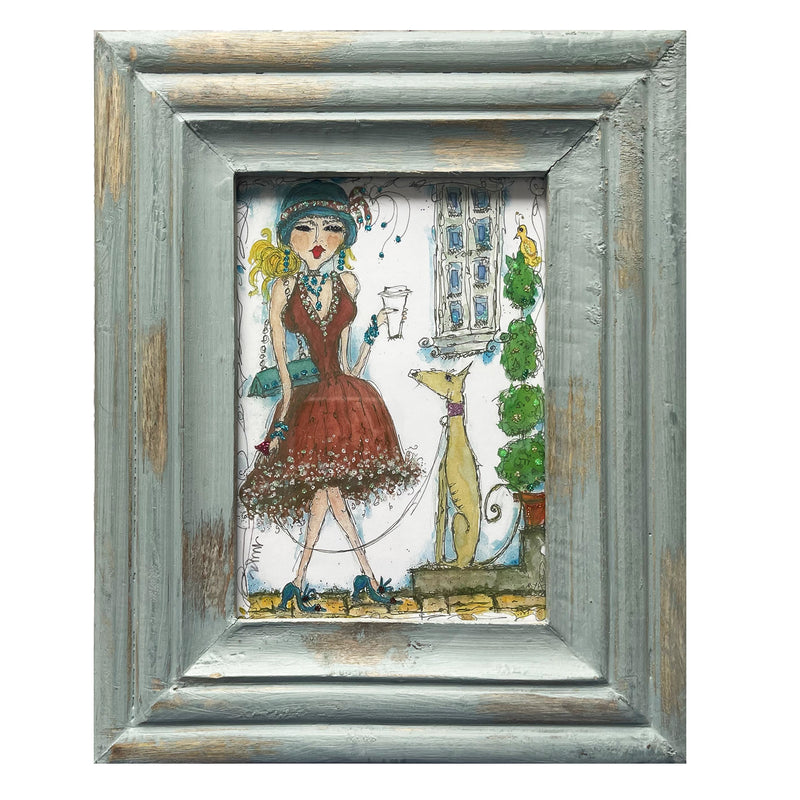 """Lady with Dog"" Framed Print"