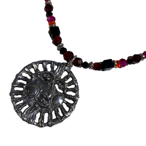 NEW! One of a Kind Red Cathedral Glass Beaded Sun Necklace