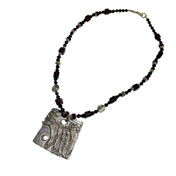 NEW! One of a Kind Cathedral Glass Beaded Abstract Necklace
