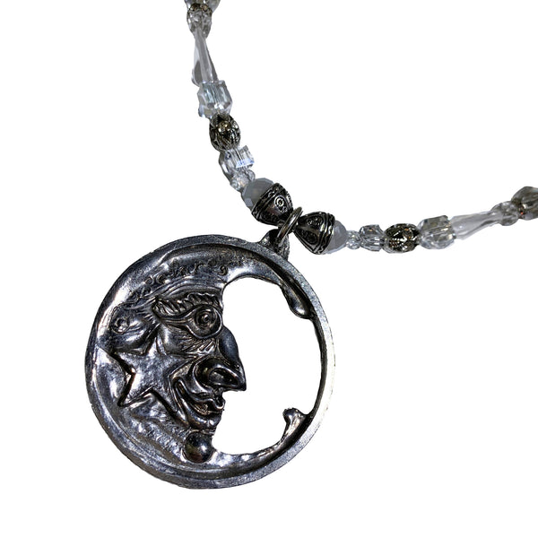 NEW! One of a Kind Crystal & Rhinestone Beaded Moon Necklace