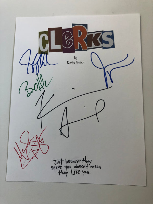 Clerks Script Signed by Kevin Smith, Jay Mewes, Marilyn Ghigliotti, Brian O'Halloran and Jeff Anderson