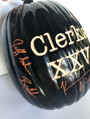 SIGNING EXCLUSIVE:  Clerks Hand Carved Light Up Pumpkin (Ian's Pumpkin Carving) - Signed by Brian O'Halloran, Jay Mewes, Marilyn Ghigliotti, Kevin Smith and Jeff Anderson