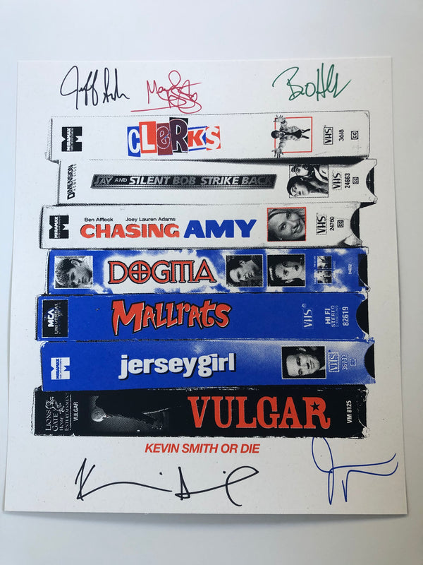 SIGNING EXCLUSIVE: VHS Stack Print Signed by 5: Jeff Anderson, Brian O'Halloran, Marilyn Ghigliotti, Jay Mewes and Kevin Smith