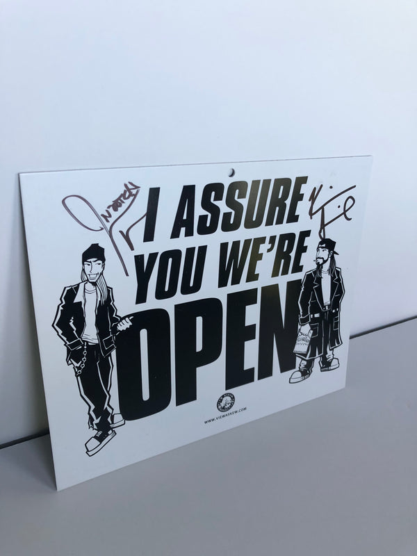 "SECRET STASH ""Open-Closed"" Double Sided Sign (Signed by Kevin Smith and Jason Mewes)"