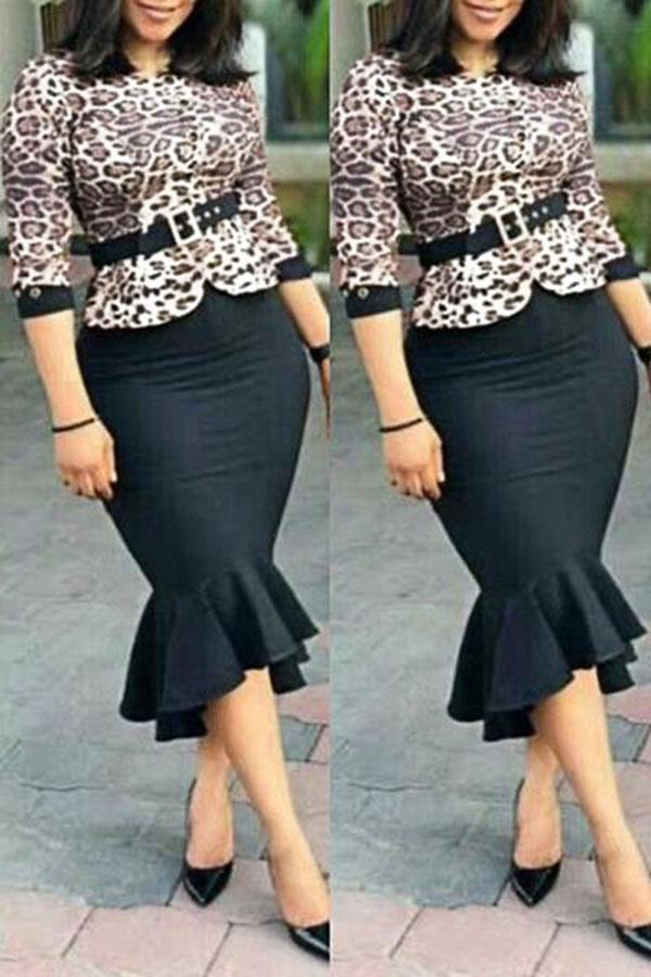 Leopard Print Half Sleeve Crew Neck Elegant Fishtail Dress With Belt