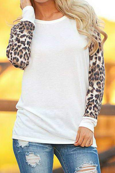 cuff-sleeve-round-neck-cool-contrasting-leopard-print-t-shirt-top