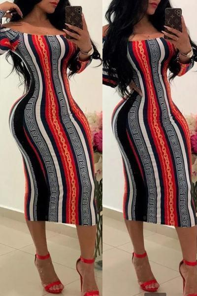 Striped Long Sleeve Off Shoulder Basic Calf-Length Dress