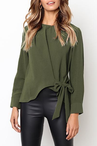 Side Bow Tie Blouse