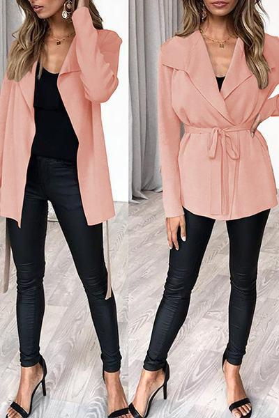 Wide Lapel Belted Jacket