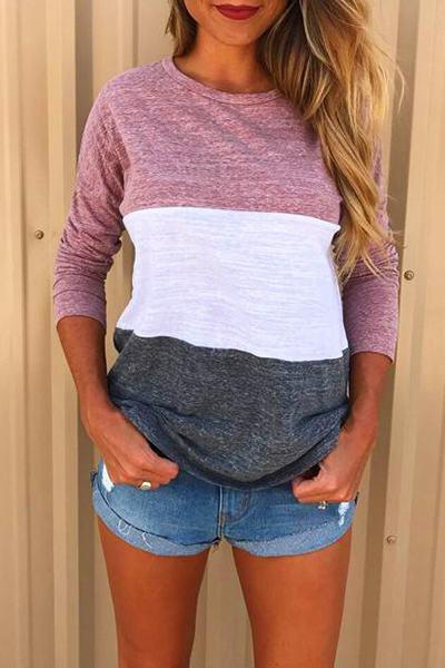 long-sleeve-round-neck-cute-color-block-striped-t-shirt-top