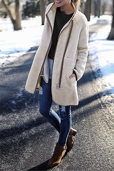 high-neck-knee-length-cozy-solid-color-fleece-coat-w-pockets