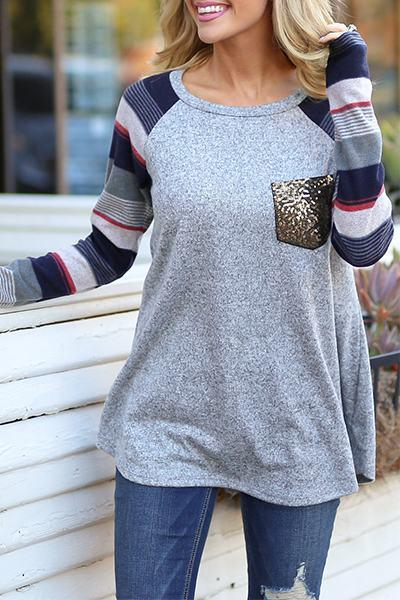 long-striped-sleeve-boat-neck-color-block-sequin-pocket-t-shirt-top