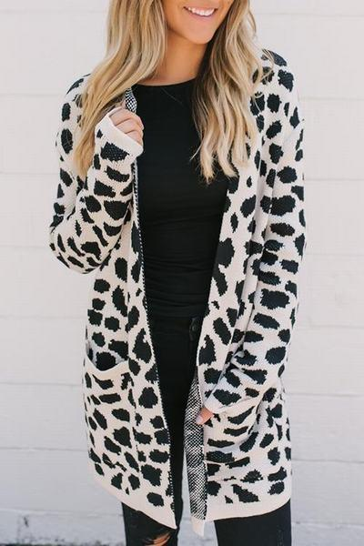 white-black-long-sleeve-collarless-long-animal-print-cardigan