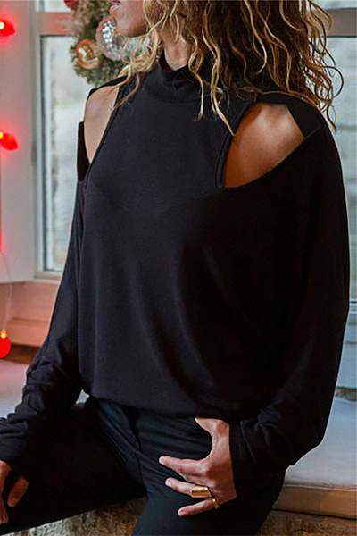 black-long-sleeve-turtle-neck-cold-shoulder-cut-out-t-shirt-top