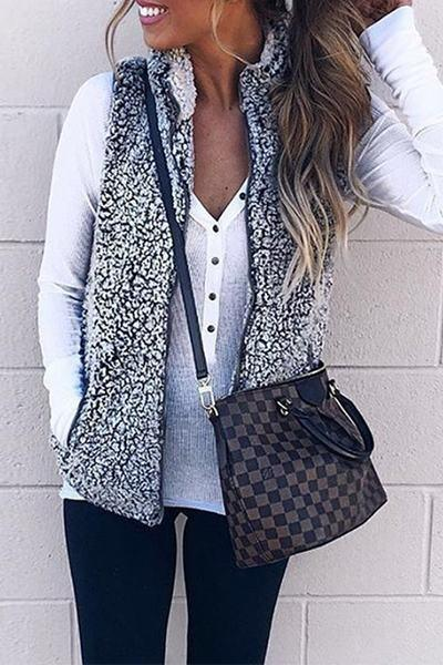 faux-fur-fleece-sleeveless-high-neck-solid-color-zip-thru-gilet-vest