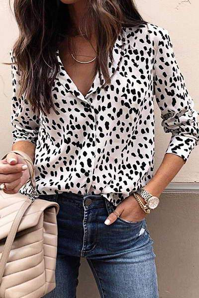cuff-sleeve-v-neck-top-button-through-shirt-animal-print-blouse
