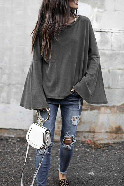 bell-sleeve-round-neck-t-shirt-top-chic-ribbed-smock-sweatshirt