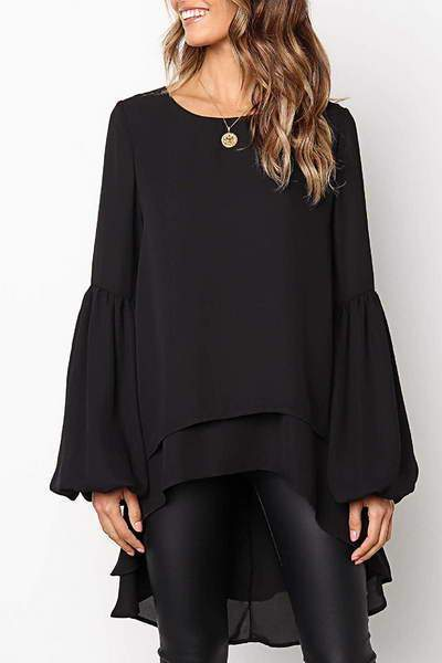 puff-sleeve-round-neck-multi-length-glamorous-solid-color-top