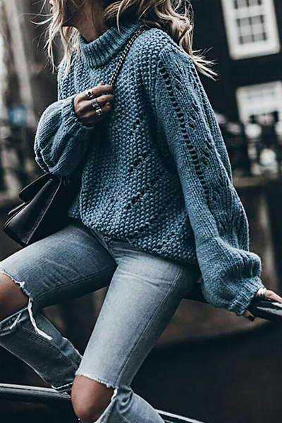 long-sleeve-turtle-neck-basic-blue-knitted-pullover-sweater