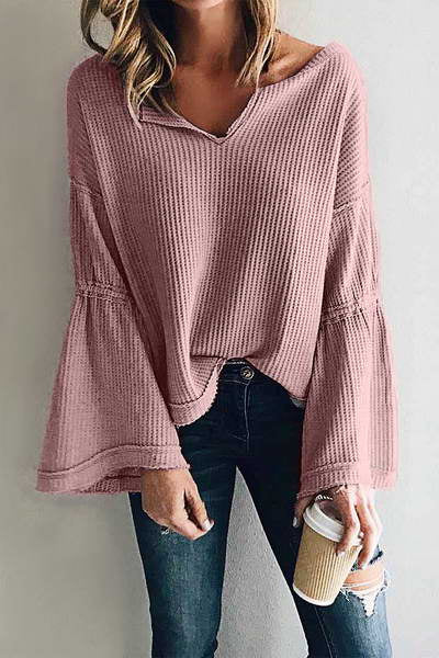 lilac-pink-pale-purple-trumpet-flounce-sleeve-v-neck-sweater-top