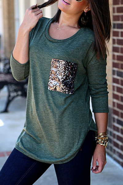 long-sleeve-sequinned-pocket-round-neck-long-pretty-plain-t-shirt