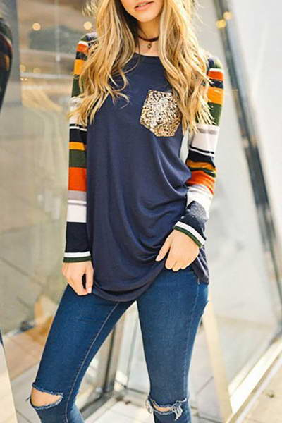 contrast-striped-sleeve-scoop-neck-long-tunic-glittery-pocket-t-shirt