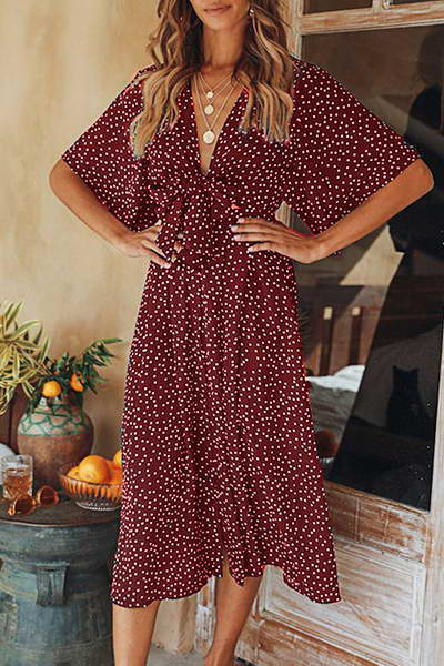 Batwing Dotty Dress