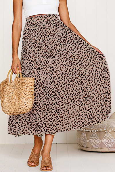 Floaty Leopard Midi Skirt