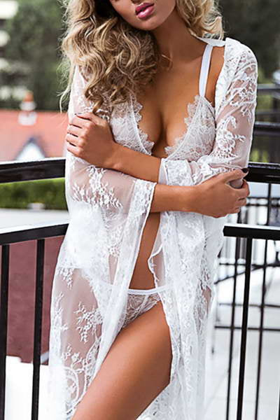 White Lace Beach Robe