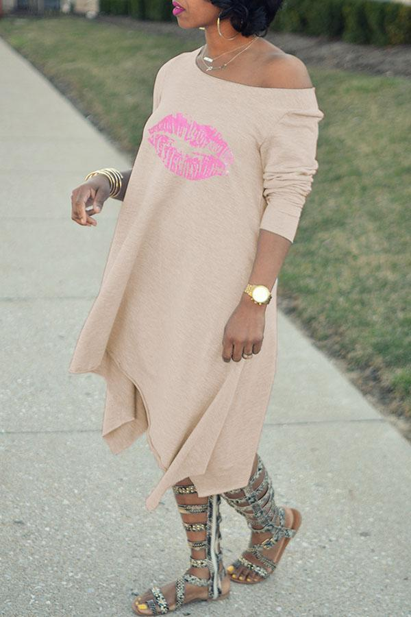 Lips Print T-shirt Dress