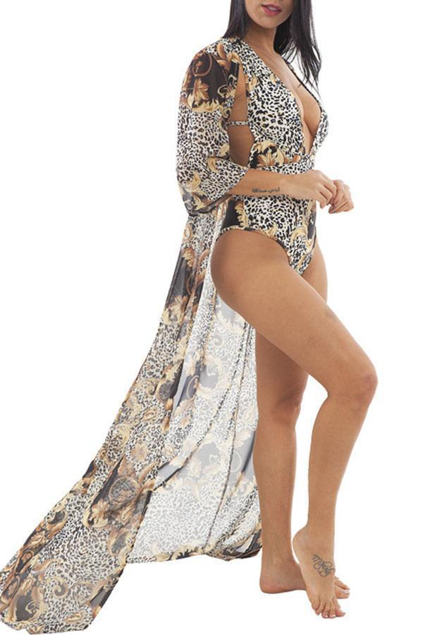 Leaf Print Swmsuit & Robe