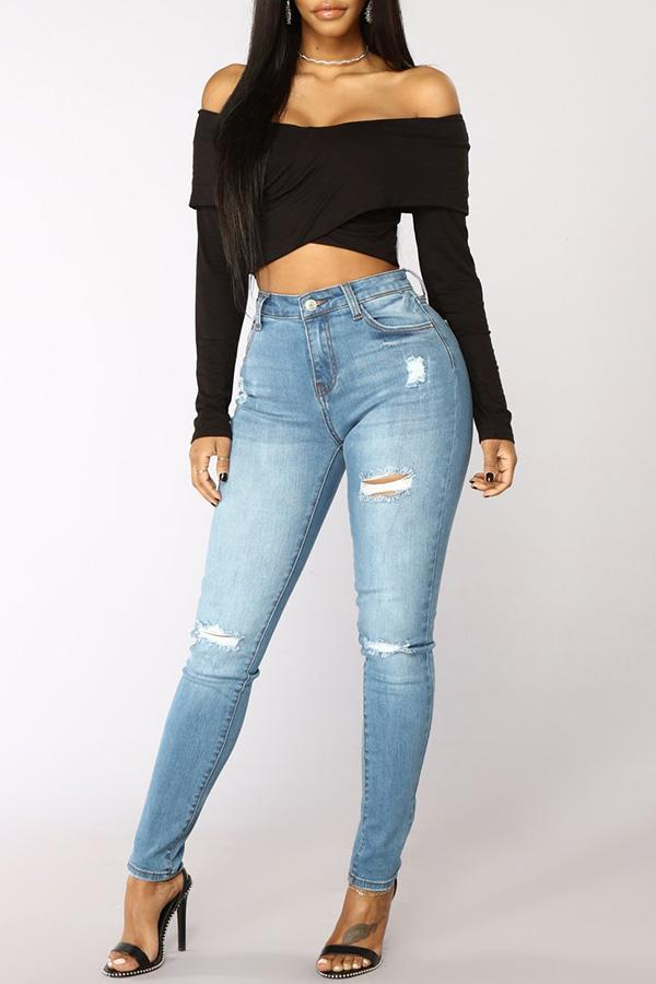 Mid Blue Ripped Jean