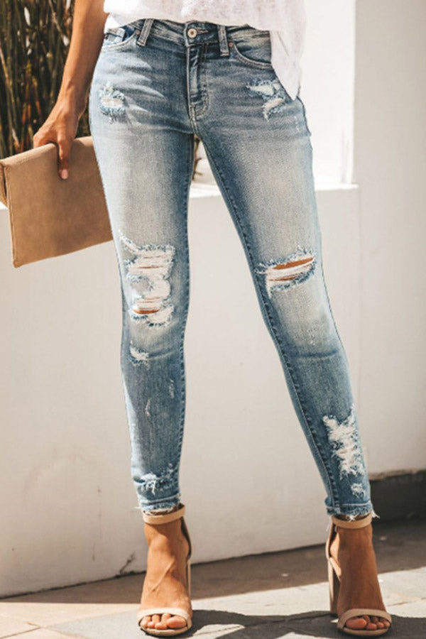Hole Out Sexy Slim Mid-Waist Jeans