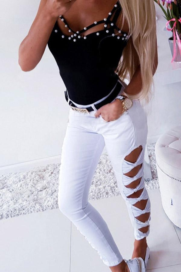 Solid Color Hollow Out Jeans