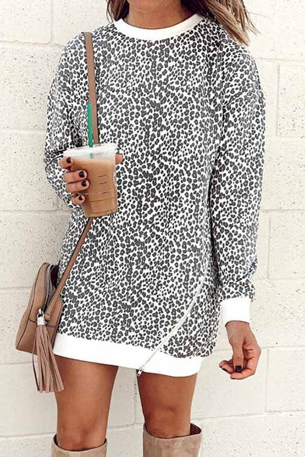 Leopard-Print Zippered Long-Sleeved Top