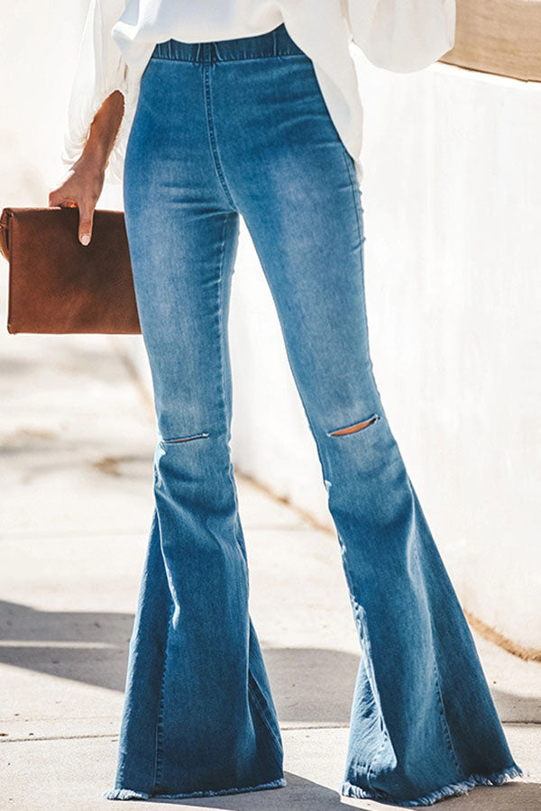 Holes Fringed Flared Jeans
