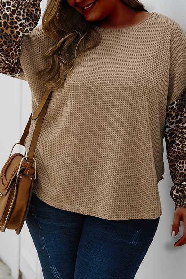 Leopard Stitching Knitted Top