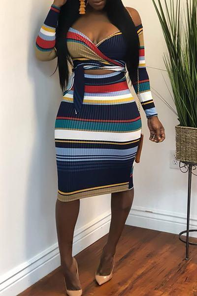 Stripe Long Sleeve Sweetheart Neck Colorful Knee-Length Dress