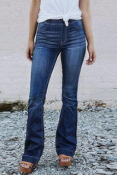 high-waist-flared-skinny-fit-plain-dark-blue-classic-boot-cut-jeans