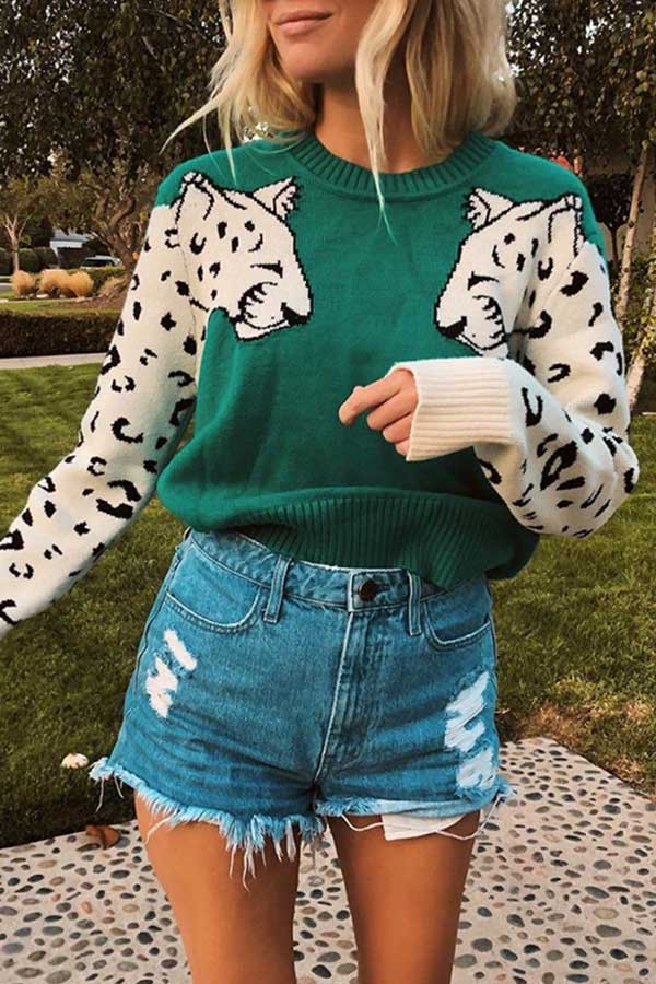 Leopard Knitted Long Sleeve Sweater
