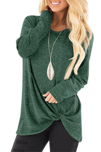 long-sleeve-round-neck-twist-knot-detail-casual-plain-t-shirt-top