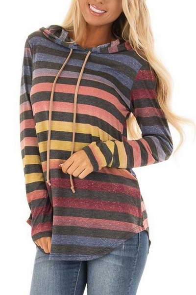 black-blue-orange-faded-color-hooded-top-stripy-pullover-sweatshirt